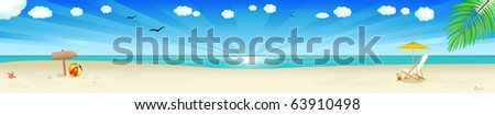 Beach Banner, Tropical Landscape With Beach, Sea And Palm Tree, Vector Illustration - stock vector