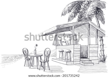 Beach bar vector sketch - stock vector