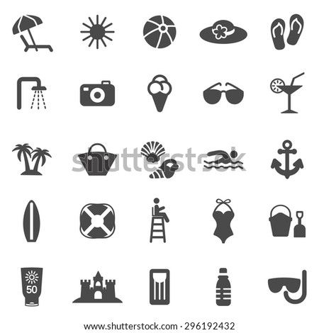 Beach black icons set.Vector - stock vector