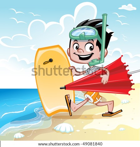 Beach boy with beach accessories - stock vector