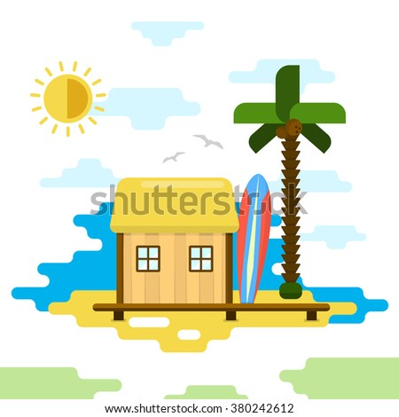 Beach Bungalow / Flat Style Vector Illustration / Summer Holiday - stock vector