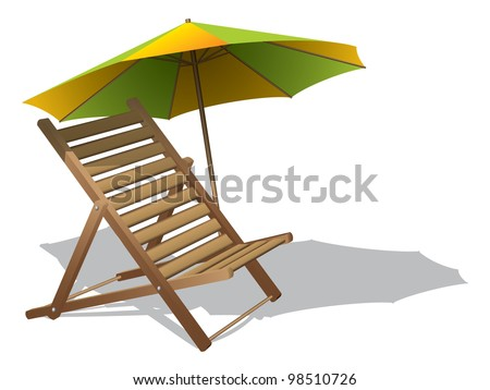 Beach chair with umbrella - stock vector