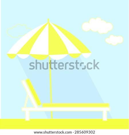Beach chaise longue with umbrella on sea coast - Illustration Summer, Umbrella, Sunshade, Beach, Chair  - stock vector