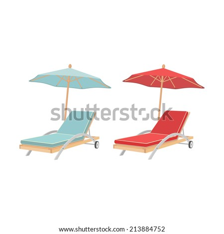 Beach chaise lounge with umbrella. - stock vector