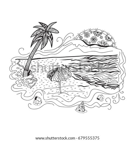 Beach Coloring Page For Adults Antistress