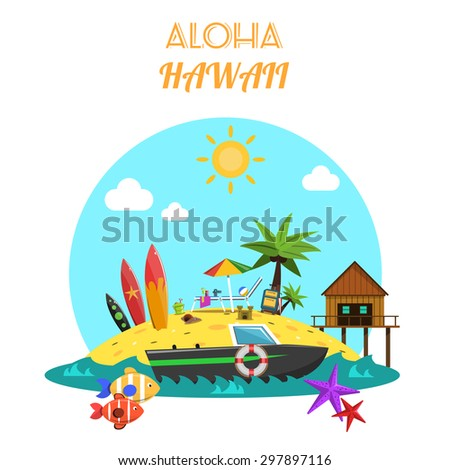 Beach concept with tropical island and sea vacation icons flat vector illustration - stock vector