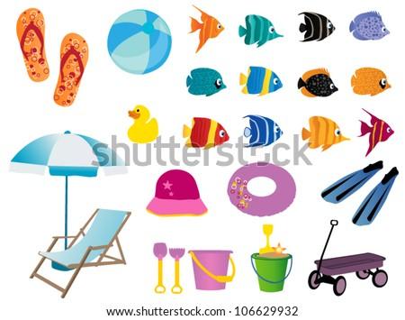 Beach elements - stock vector