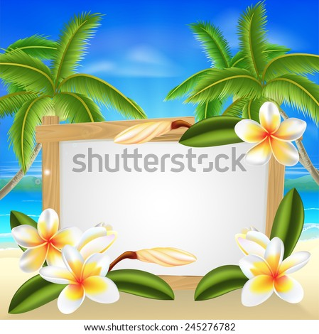 Beach floral frangipani plumeria flower beach palm tree summer tropical holiday background sign - stock vector