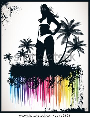 Beach Girl Vector Illustration - stock vector