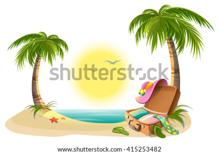Beach holidays on summer vacations. Tropical sun, sea, palm trees, sand and open suitcase. Cartoon vector illustration - stock vector