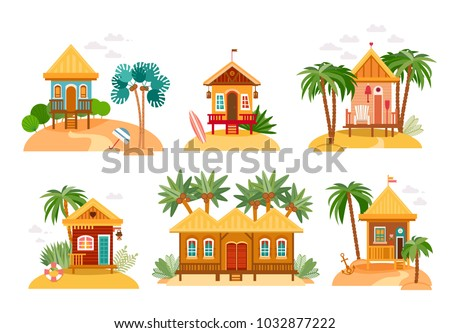 Cartoon Set Of Straw Huts Bungalow For Tropical Hotels On Island