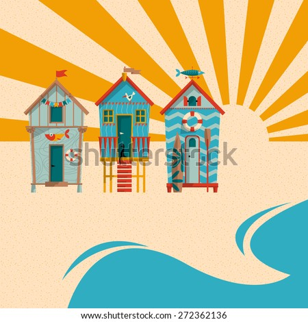 Beach huts with sand, sea and sun in the background. Summer holiday. Vector illustration - stock vector