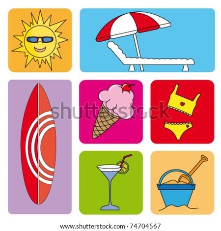 beach icon set - stock vector
