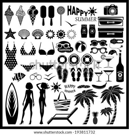 Beach icon set. vector  - stock vector