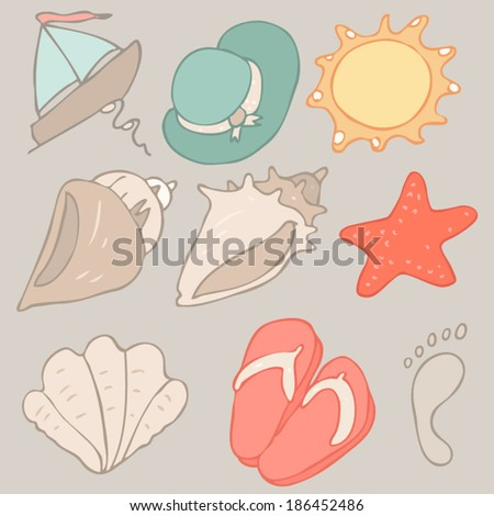 beach icon set vector illustration, hand drawn - stock vector