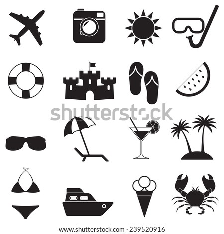 Beach icons and Summer signs set isolated on white background. Travel and vacation vector illustration. - stock vector