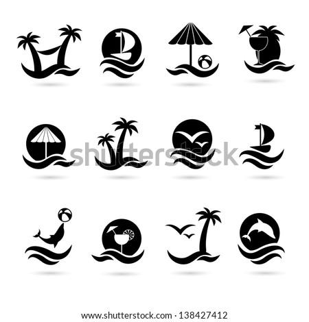 beach icons eps 8 - stock vector