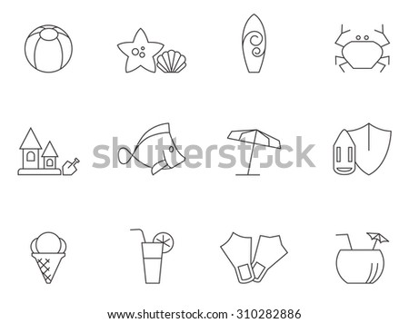 Beach icons in thin outlines. Vacation. - stock vector