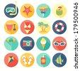 Beach icons set. Vector illustration. - stock vector