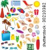 Beach Items Vectors - stock vector