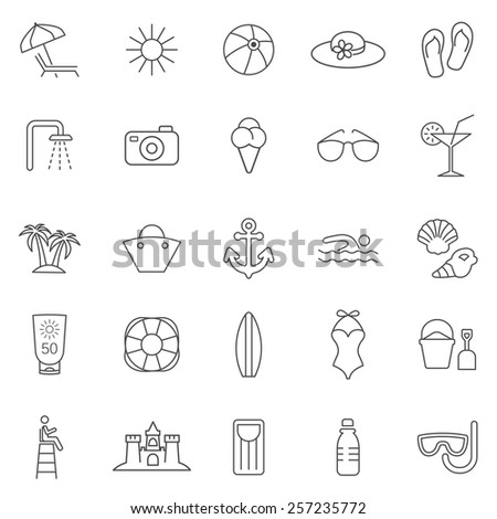 Beach line icons set.Vector - stock vector
