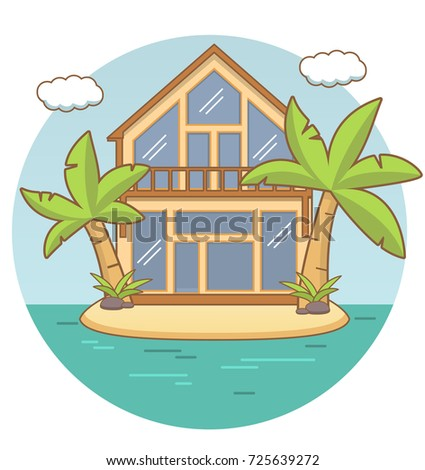 Beach Lodgetropical Island Landscape Sandy Beach Stock Vector