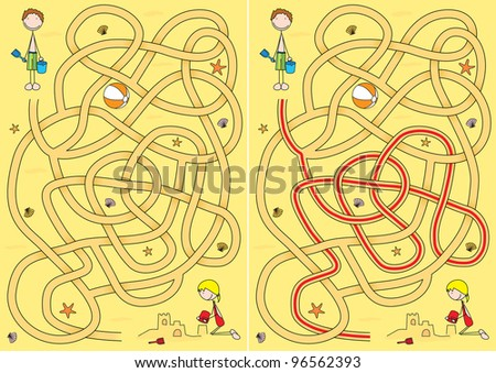 Beach maze for kids with a solution - stock vector