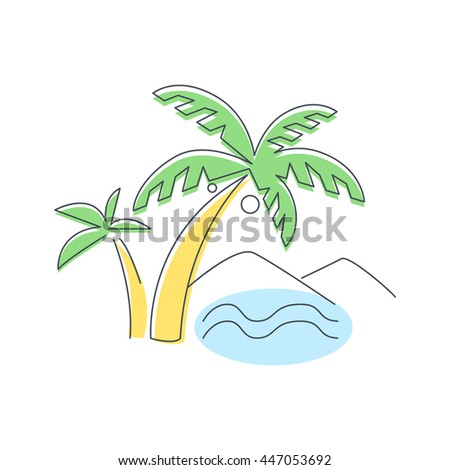 Beach, Mountain And Palm Trees