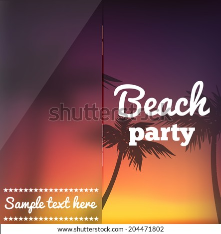 Beach party flyer - stock vector