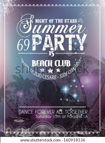 Beach Party Flyer for your latin music event or poster - stock vector