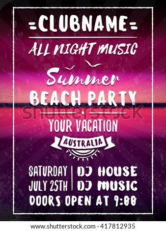 Beach Party Flyer Poster Night Club Stock Vector 2018 417812935