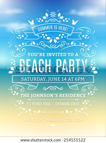 Beach party invitation with white text, ornaments and ribbons on a blurry ocean background. - stock vector