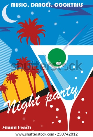 Beach Party poster background with palm leaves and cocktails, vector illustration