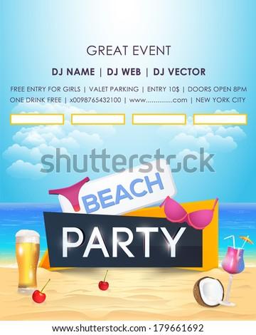 Beach Party Poster Flyer - stock vector