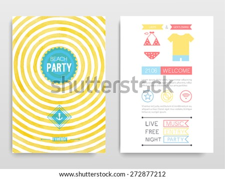 Beach party. Vector illustration. - stock vector