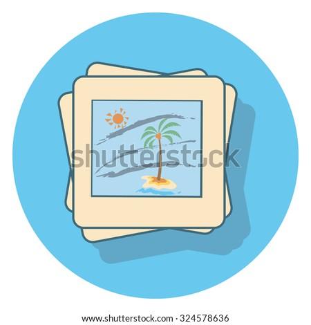 beach photo flat icon in circle - stock vector