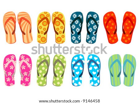 Beach sandals. Different colorful flip-flops over white background.