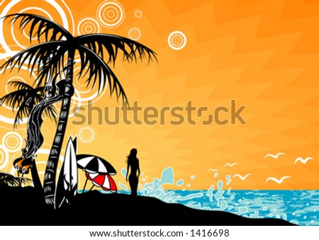 Beach scene - stock vector
