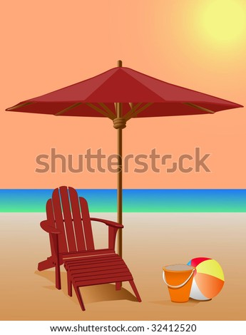 Beach Scene - Adirondack Chair and Market Umbrella