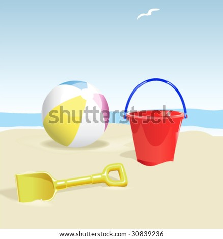 Beach Scene - Vector Illustration with isolated items easily removed from sand.