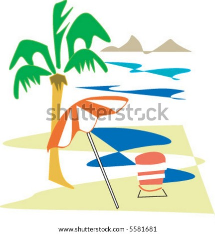 Beach scene with umbrella, palm tree and beach chair - stock vector
