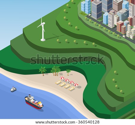 Beach Sea isometric with the ship, the mountains and the city