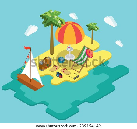 Beach sea ocean yacht summer vacation flat 3d isometric pixel art modern design concept vector. Palm island chaise lounge deck chair suitcase thongs. Web banners website infographics illustration. - stock vector
