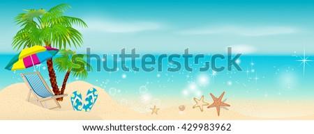 Beach, sea, palm trees with sun beds and umbrellas. Beach Holidays - stock vector