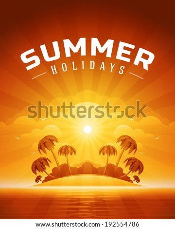 Beach sea with tropical island summer holidays vector background.  - stock vector