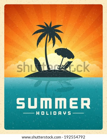 Beach sea with tropical island summer holidays vector background.