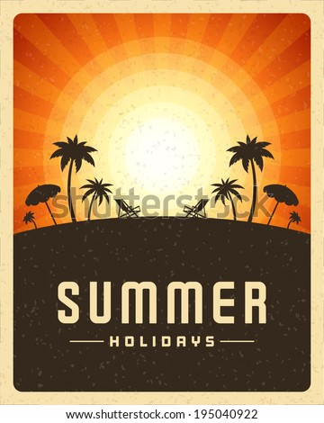 Beach sea with tropical island summer holidays vector poster or background.  - stock vector