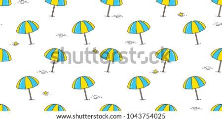 Beach Seamless Pattern Umbrella Isolated Summer Ocean Sea Vector Wallpaper Background Illustration Doodle Cartoon