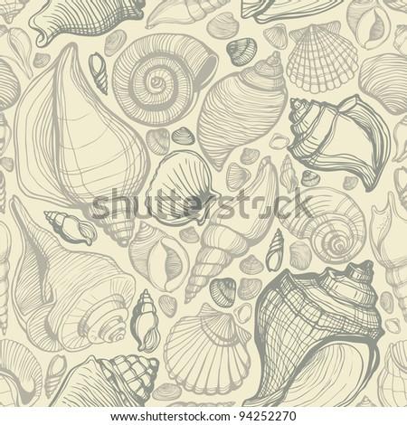 Beach Seashell Pattern - stock vector
