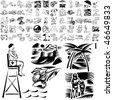 Beach set of black sketch. Part 106-11. Isolated groups and layers. - stock vector